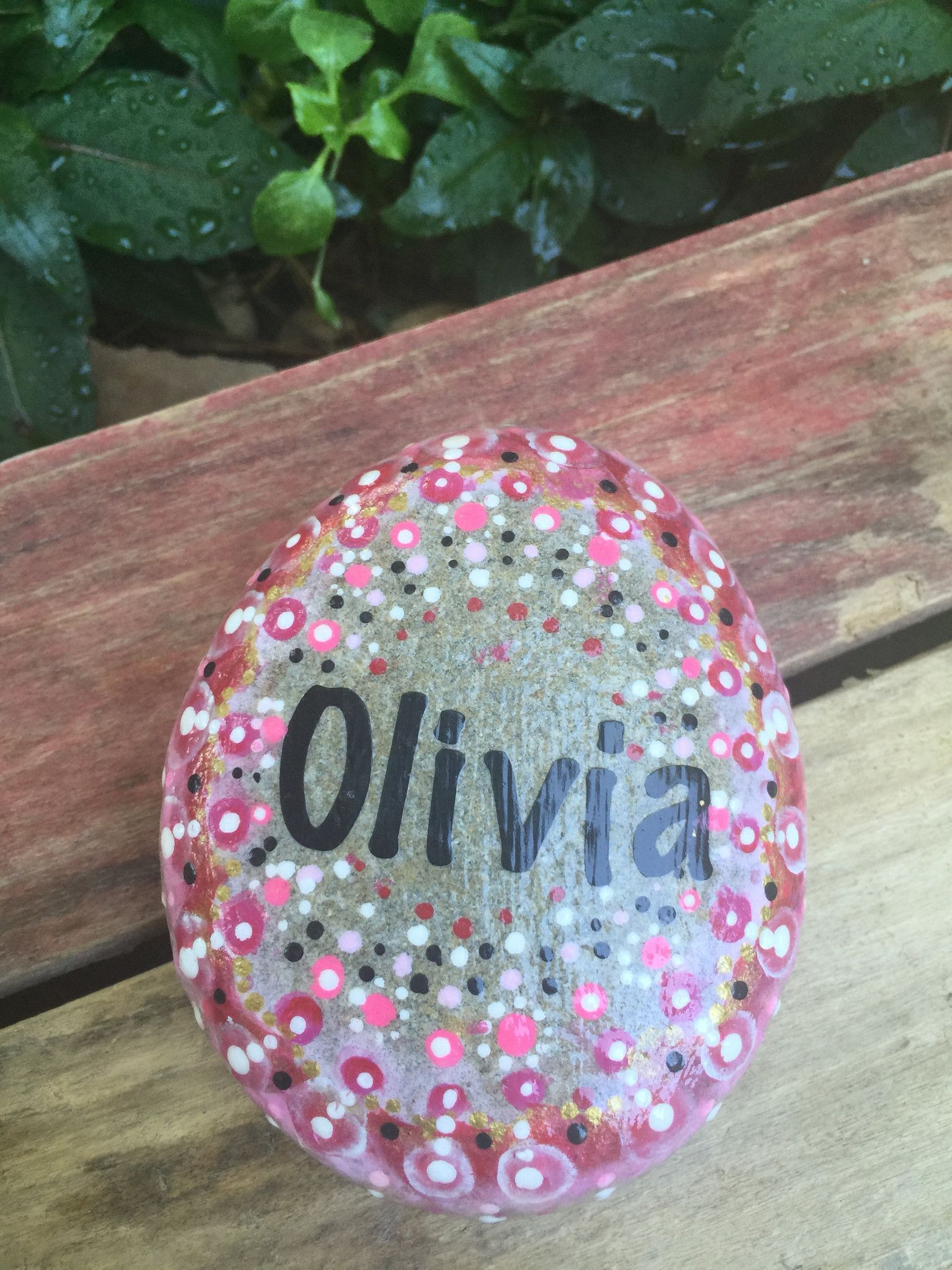 Tell someone they are special and remind them that they Rock!. This beautiful round name rock mix nature and art with a dash of motivation! You can select the color scheme you like best. This rock Onc