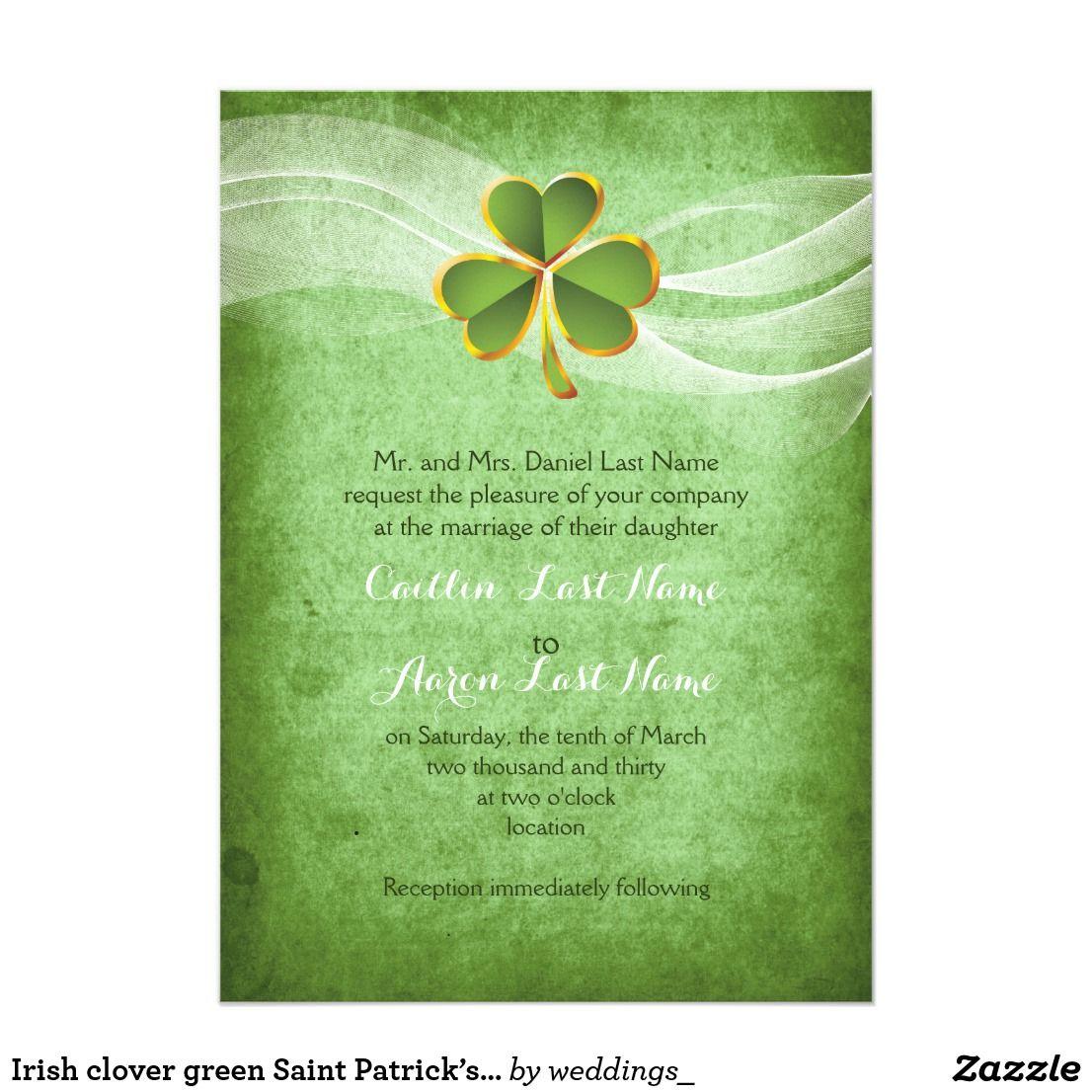 Irish Clover Green Saint Patrick's Day Wedding Card And Veil Invitation Featuring A Shamrock Leaf With: Invitations Wedding Fun Irish At Websimilar.org
