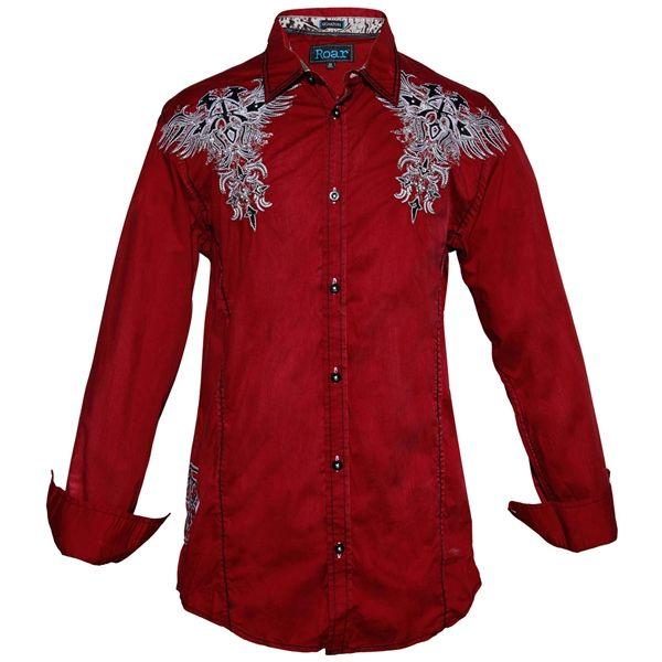Roar Men's Lordship Western Long Sleeve Shirt in Red W51901