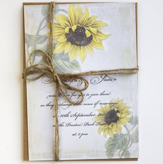 Free Wedding Ideas: Rustic Sunflower Wedding Invitations By