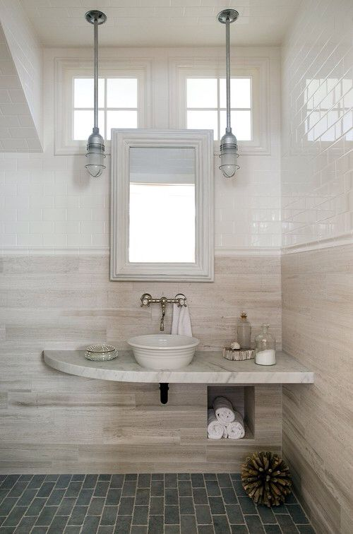 Wood Grain Tile Halfway Up The Wall Bathroom Design Powder Room Design Modern Powder Rooms