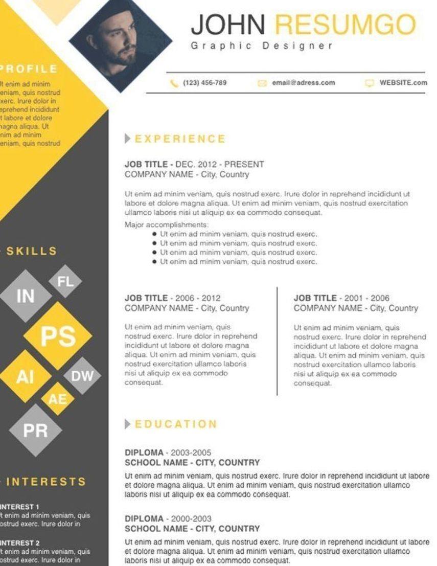 DEIMOS Square Resume Template Graphic design resume