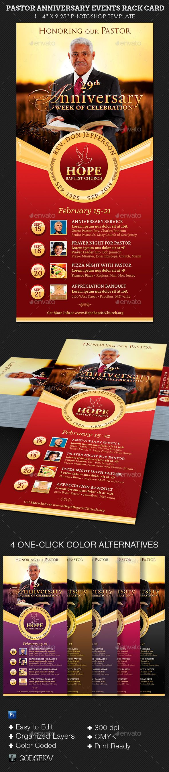 Pastor Anniversary Events Rack Card Template With Images Rack Card Templates Pastor Anniversary Card Template