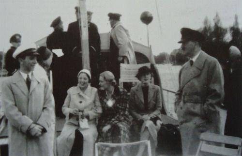 Joseph Goebbels and Adolf Hitler aboard a ship