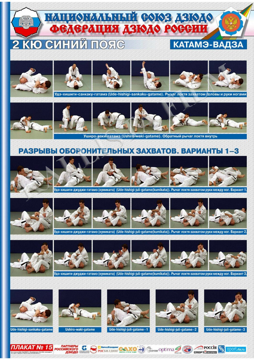 Posters JUDO Yellow  belt  1 poster.The technique of judo.