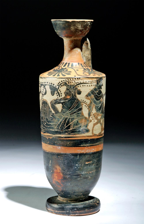 Attic Black Figure White Ground Lekythos Dionysos Black Figure Ancient Greece Scented Oils