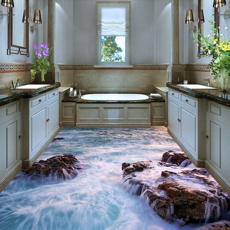 3D Waterproof Wallpaper For Bathroom Floor Custom PVC Self