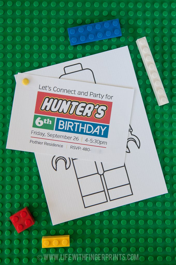 Lego party invite that you can make and deliver with the birthday