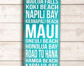 Beach Wall Art Hawaiian Home Decor Hawaii Wood Sign Maui Wood Sign Hawaiian Home Decor Painted Wood Signs Wood Signs