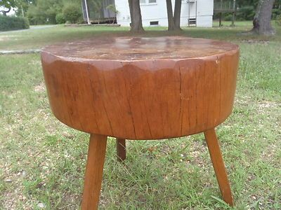 Antique Wood Butcher Block Coffee End Table Vintage Round