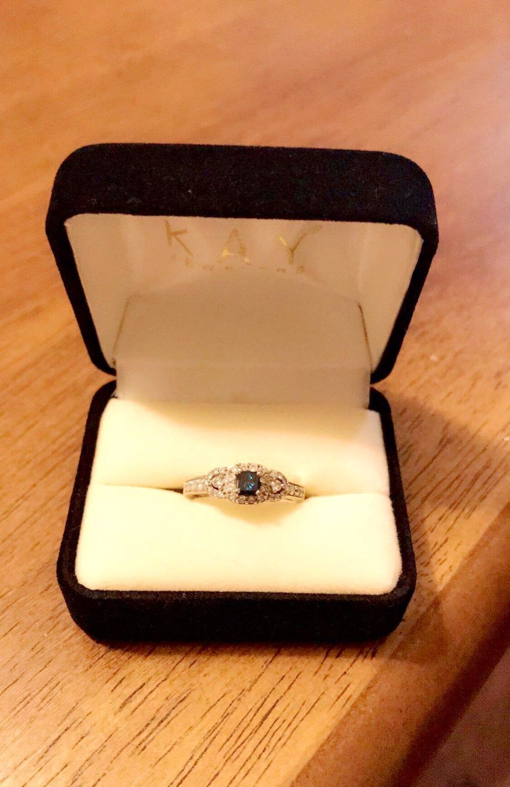 10k White Gold Blue White Diamonds Engagement Ring This Is A Stunning Elegant Ring For That S Kay Jewelers Rings White Diamond Rings Engagement Diamond Sizes