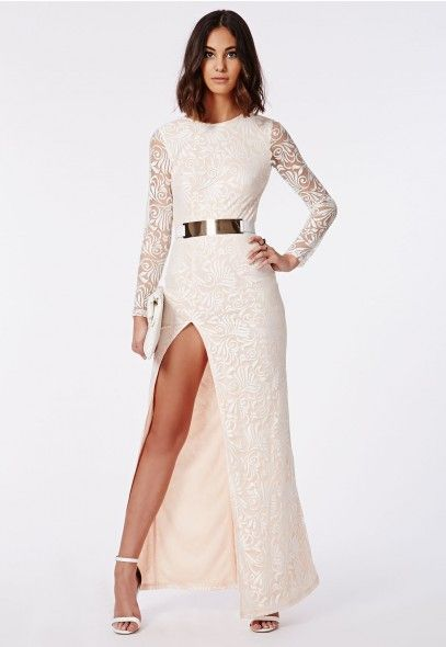 Aaliah Lace Side Split Maxi Dress Nude | Nude dress, Side split and ...