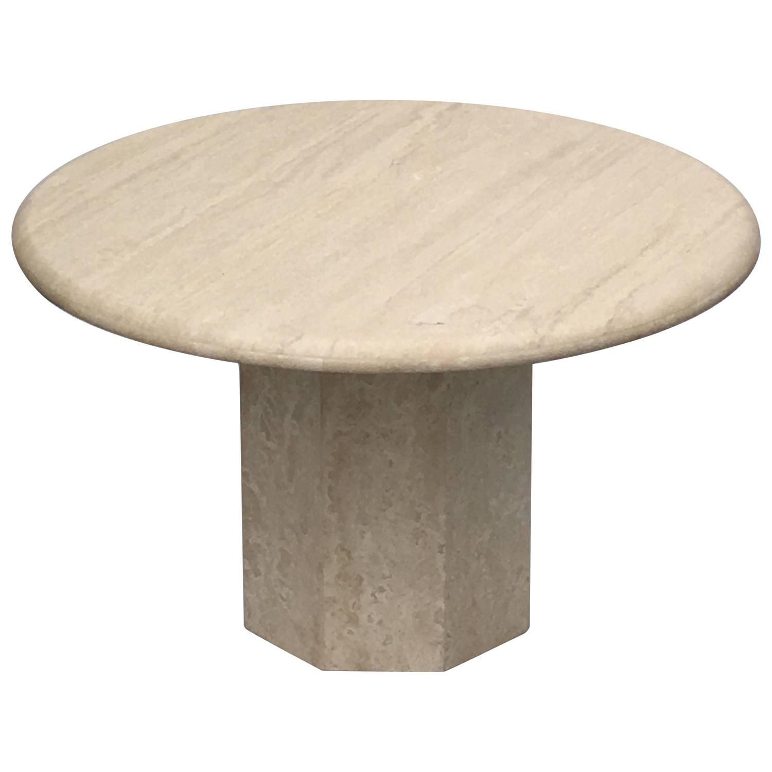 Round Italia Travertine Dining Table