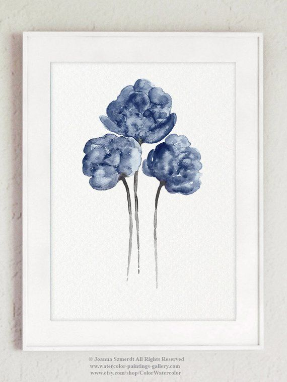 Peony Flower Art Print set 6 Navy Blue Peonies Botanical Entryway Living Room Large Poster Canvas Watercolor Painting Taupe Wall Decor #bluepeonies