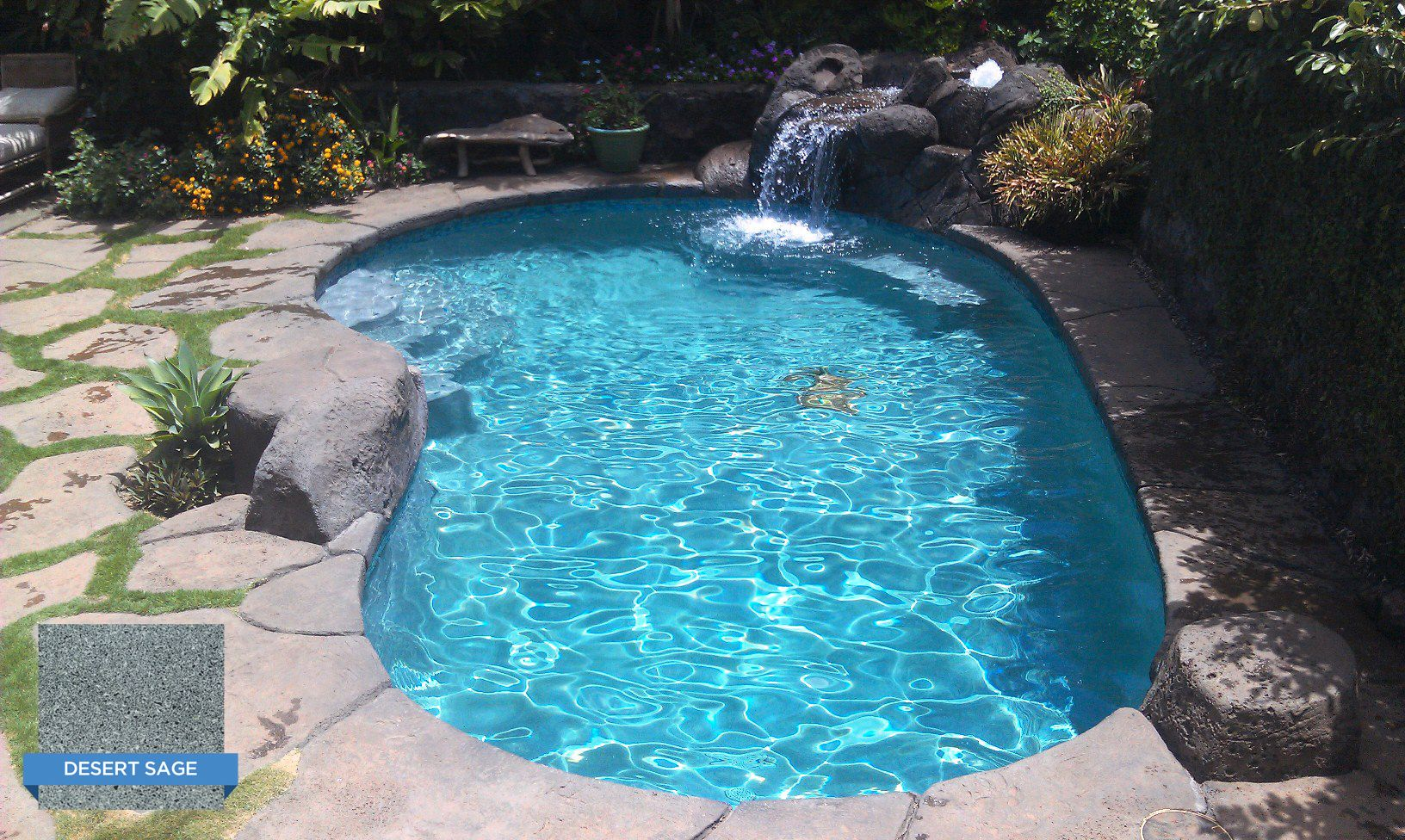 Hydrazzo Desert Sage Really Blends Nicely In This Pool From A Natural Sage Color On The Steps