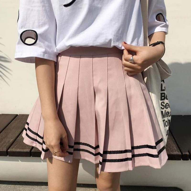 6a36d9e82 itGirl Shop PINK SAILOR DOUBLE EDGE STRIPES PLEATED SKIRT Aesthetic Apparel