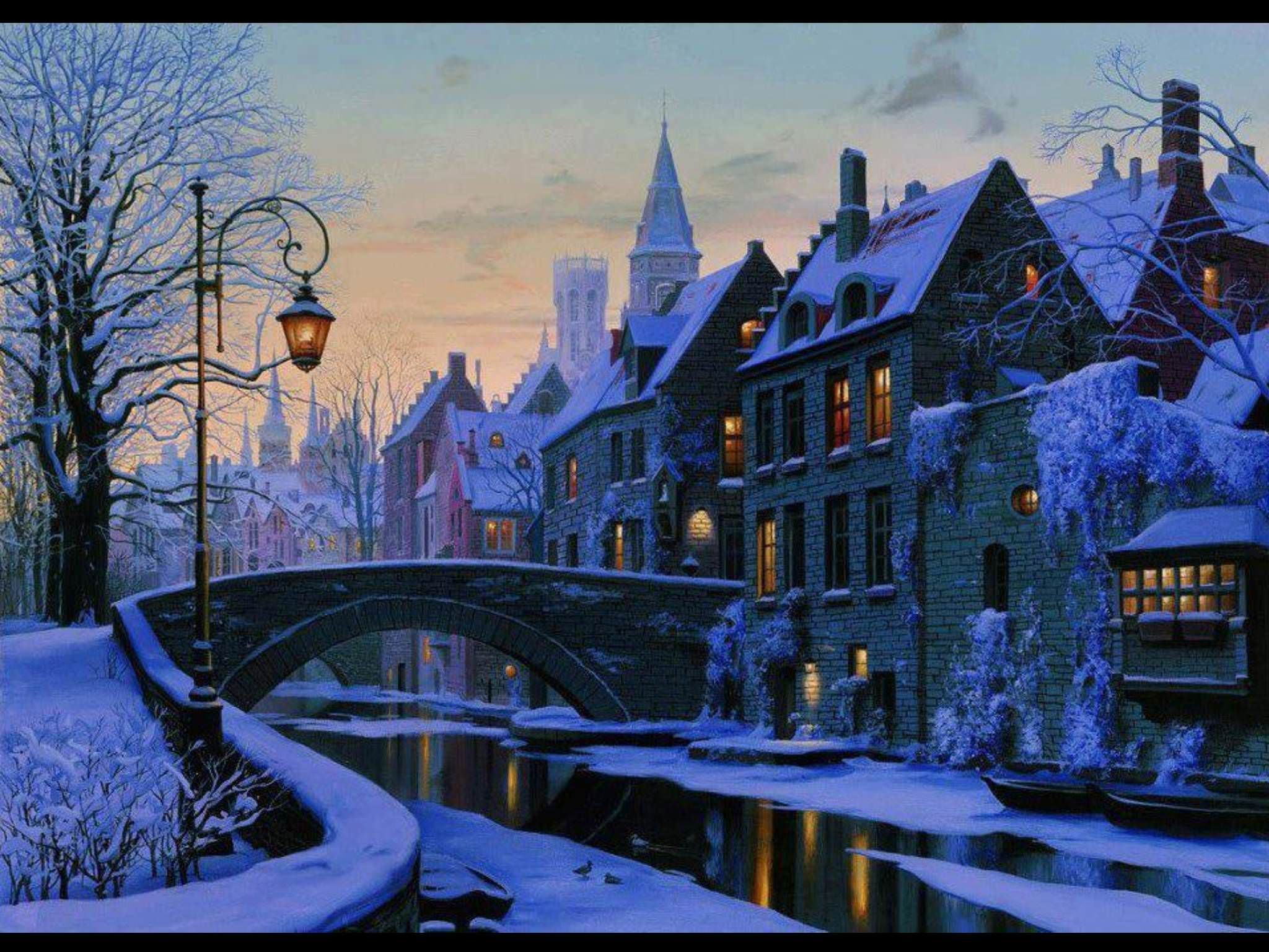 A Cozy Winter Town Scene City Painting Wonders Of The World Winter Scenes