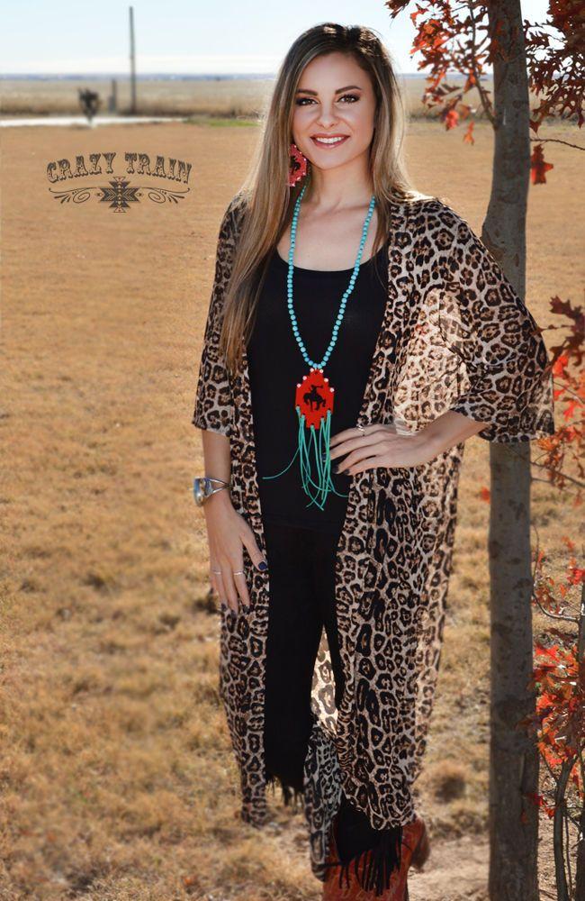 New Crazy Train Cheetah Leopard Dixie Duster Animal Print Long One Size   CrazyTrain  LongDuster 07f15d93d