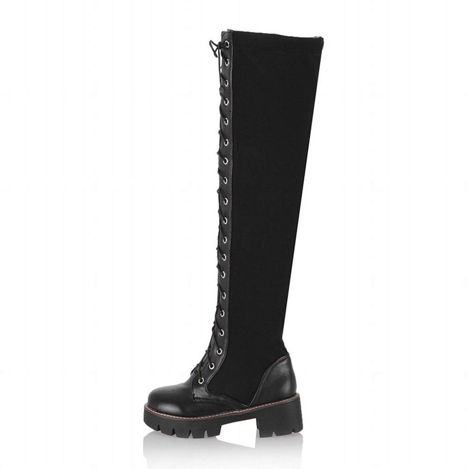 8c8ebed82e12 Carolbar Women s Zip Lace Up Comfort Fashion Mid Heel Riding Tall Boots      More