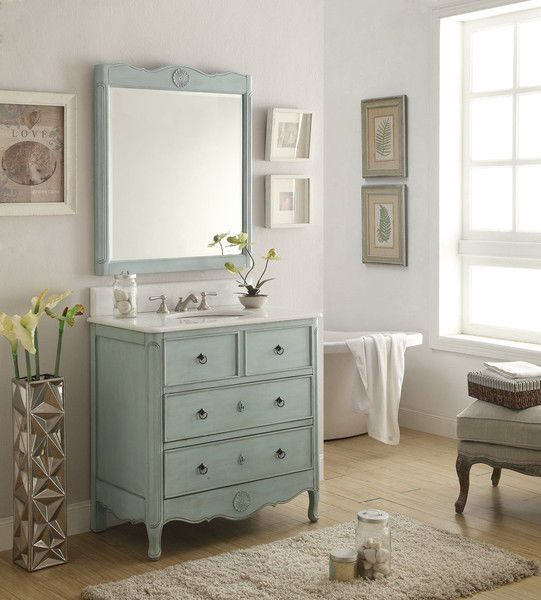 Bathroom Vanities Vintage Style adelina 34 inch vintage bathroom vanity light blue finish | best