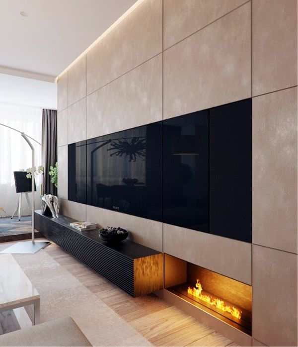 20 Pretty Cool Lighting Ideas For Contemporary Living Room: 40 Unique TV Wall Unit Setup Ideas
