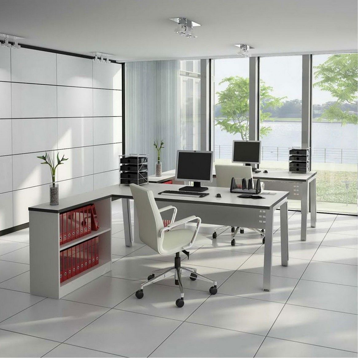 Interior: Incredible Office Interior Design Ideas 2013, Awesome White Themed Home Office Interior Design with L-Shaped Desk and Wheeled Arm ...