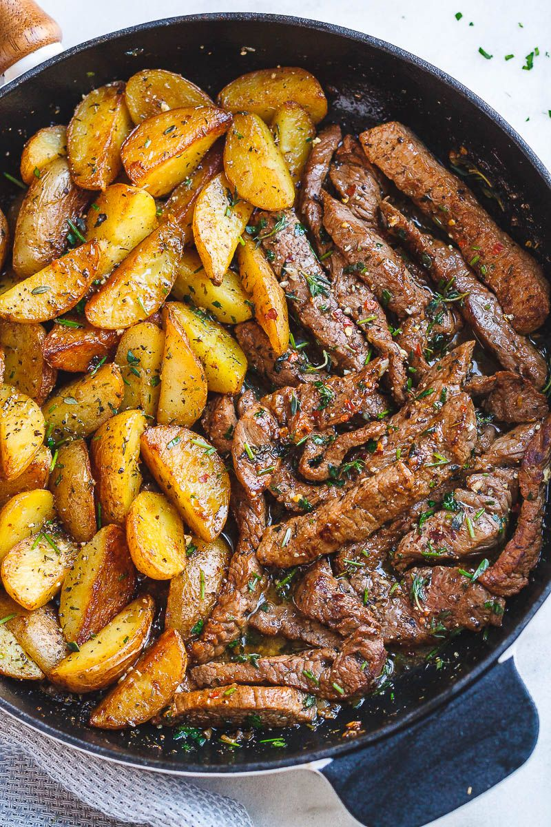 Garlic Butter Steak and Potatoes Skillet #meals