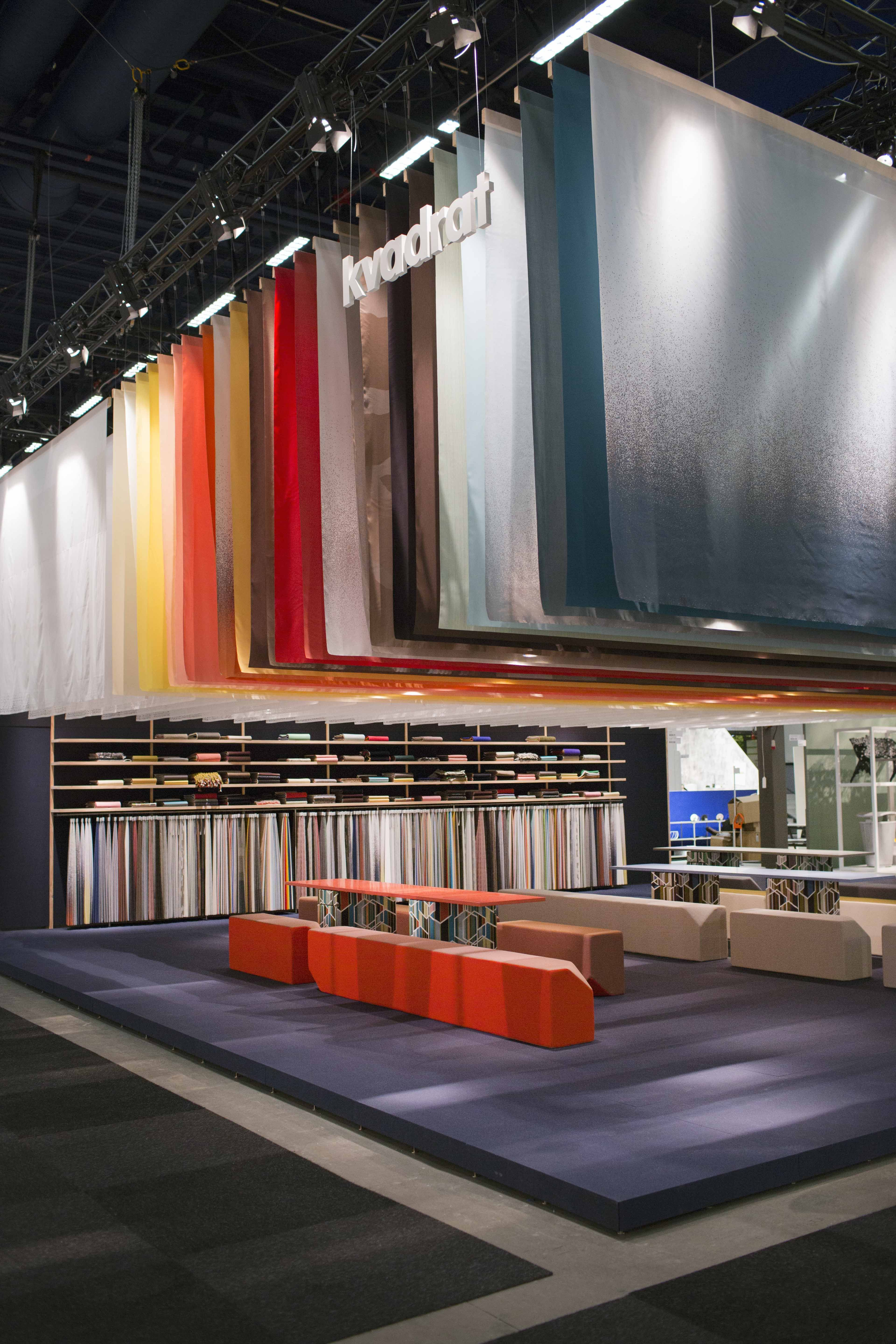 Fabric Exhibition Stand Years : A colourful textile sky at the kvadrat stand during