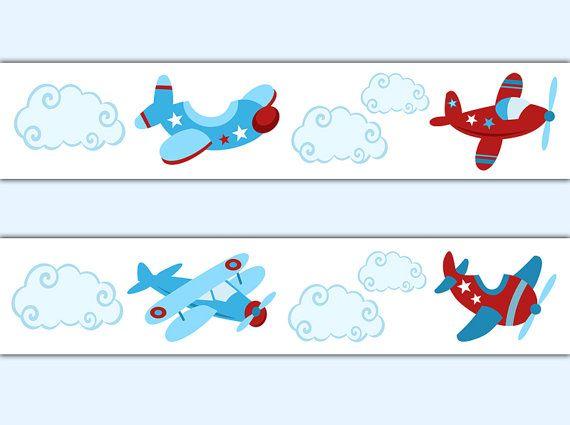 Airplane Wallpaper Border Wall Decals Boy Aviation Nursery