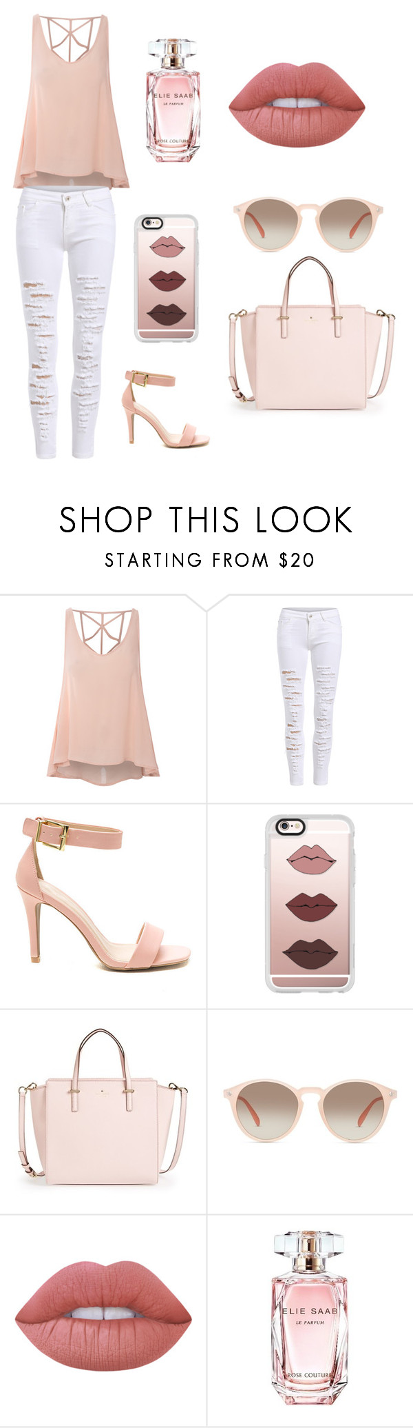 """""""Birthday dinner"""" by bronte03 ❤ liked on Polyvore featuring Glamorous, Casetify, Kate Spade, GlassesUSA, Lime Crime and Elie Saab"""