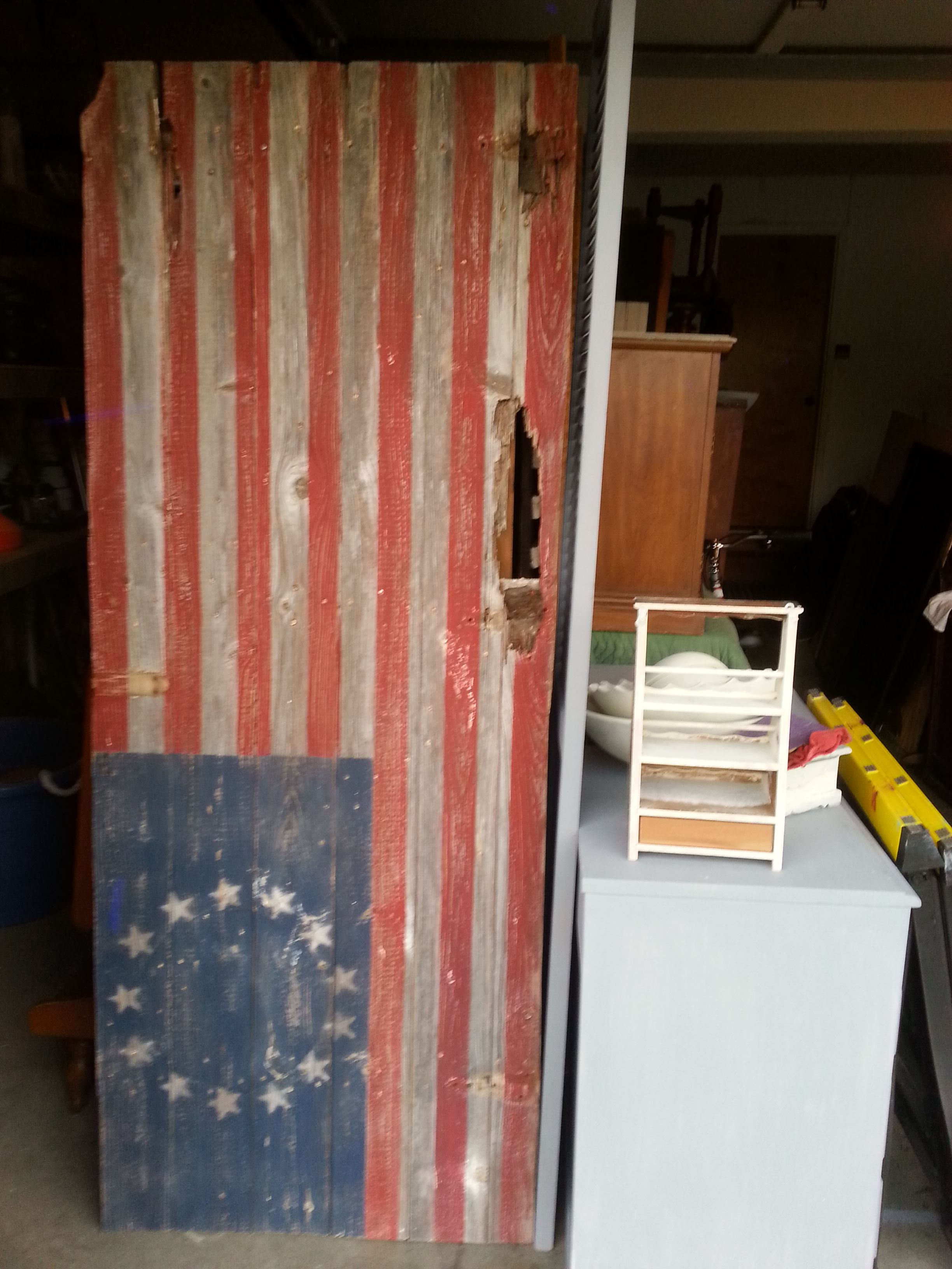 My Step Dad Jim Gave Me An Old Barn Door So I Painted An American Flag On It Old Barn Doors Distressed Furniture Old Doors