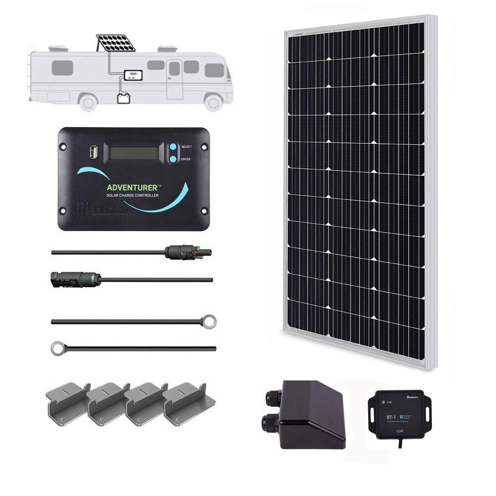 Renogy 100 Watt 12 Volt Off Grid Solar System For Solar Rv Kit Kitrv100dadv30 The Home Depot In 2020 Solar Power Kits Flexible Solar Panels Off Grid Solar Power