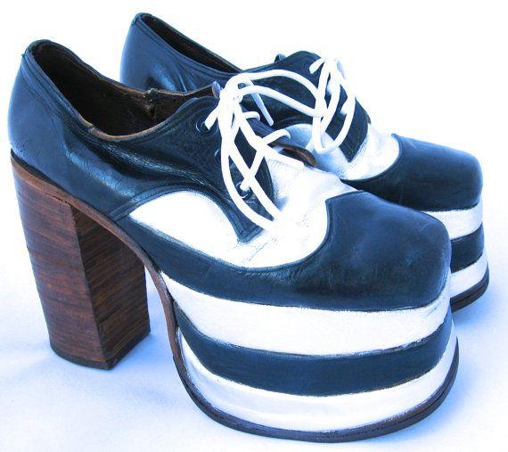 1970's Men's Platform Shoes / Disco Shoes / Platform Spectator ...