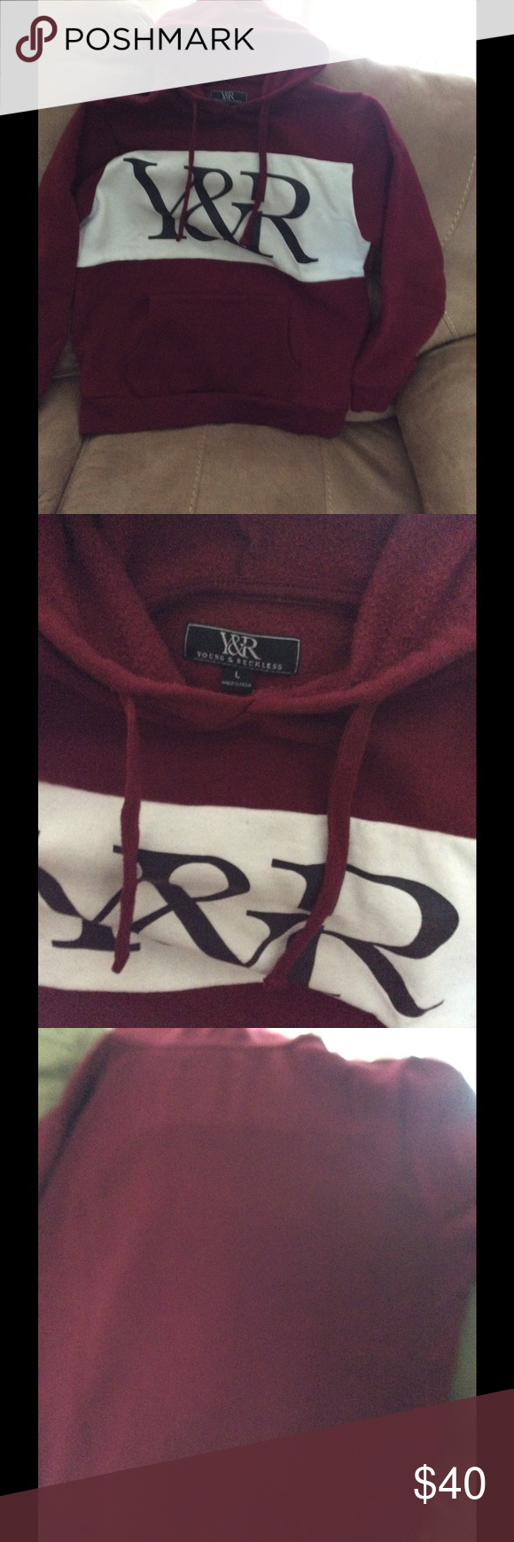 Young & Reckless Good used condition, burgundy men's Y&R hoodie size large. Young & Reckless Shirts Sweatshirts & Hoodies