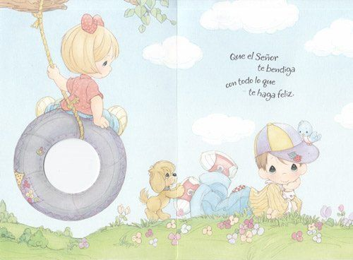 Greeting Card Birthday Precious Moments Spanish God Bless You On