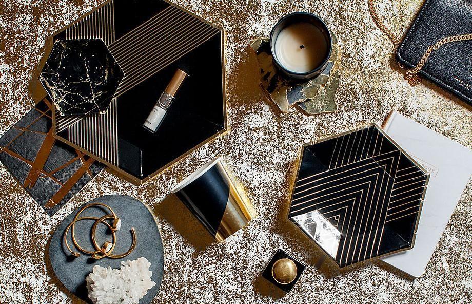 Inset With Gold Stripes On Elegant Hexagon Black Gold Foil