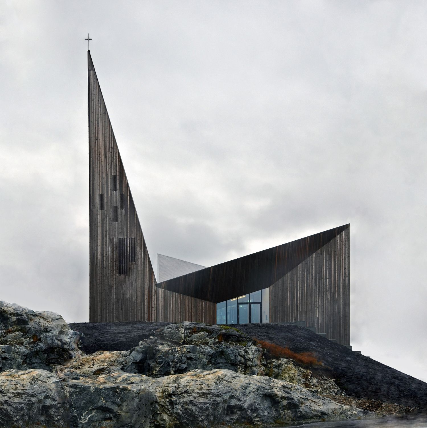 The new Community Church Knarvik signals its function with a sacral ...