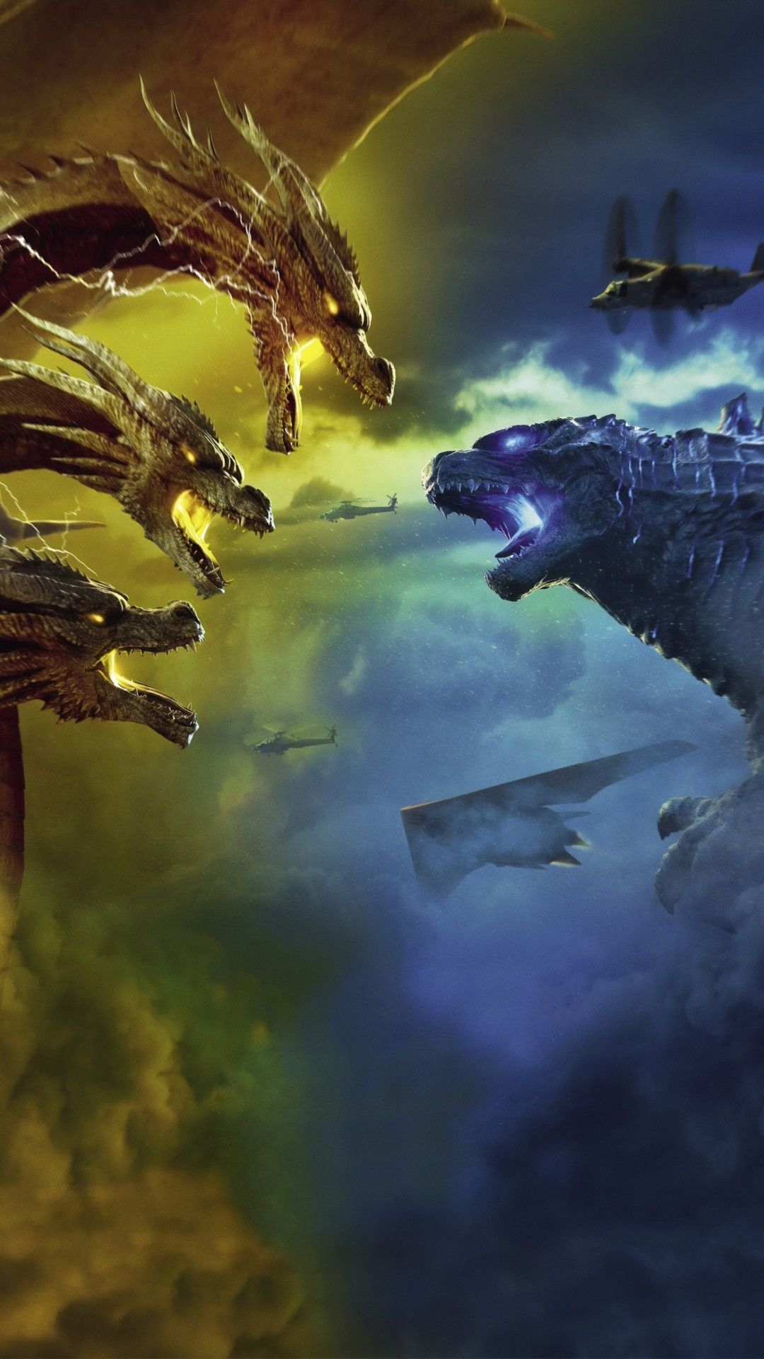 Godzilla King Of The Monsters 4k Mobile Wallpaper Iphone Android Samsung Pixel Xiaomi In 2020 Godzilla Movie Monsters Monster
