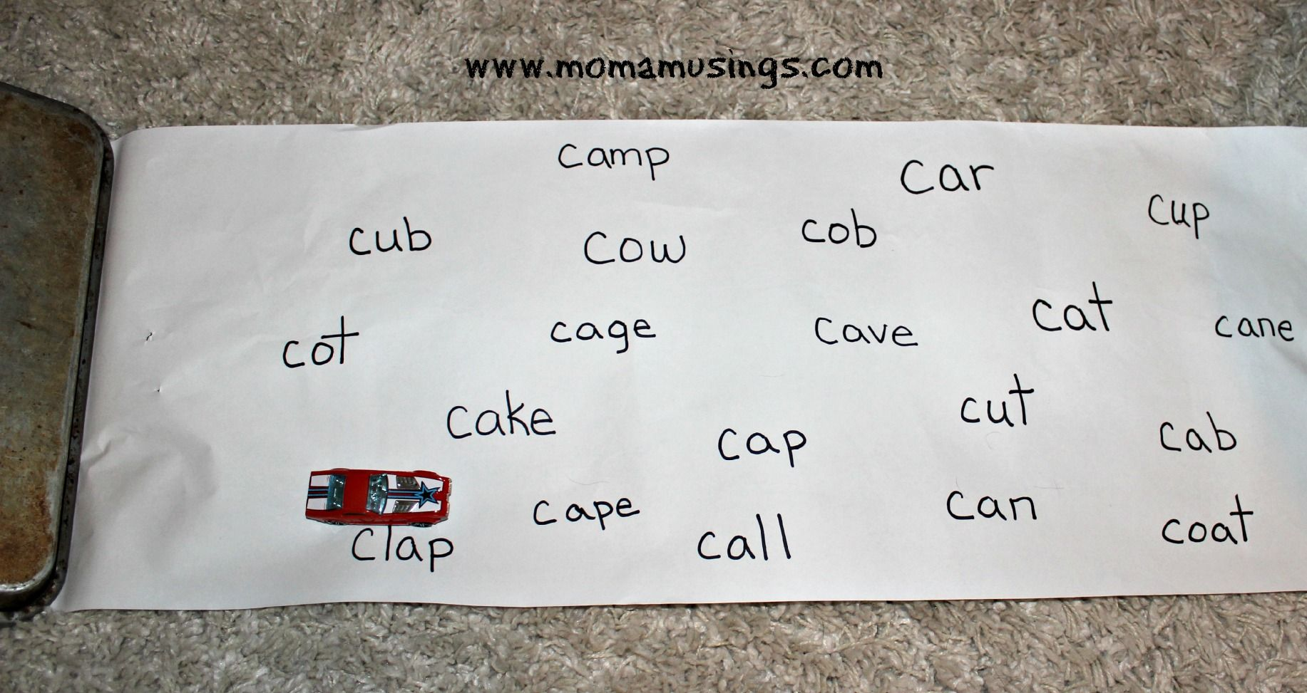 Alphabet Activities the letter C Race to the word game
