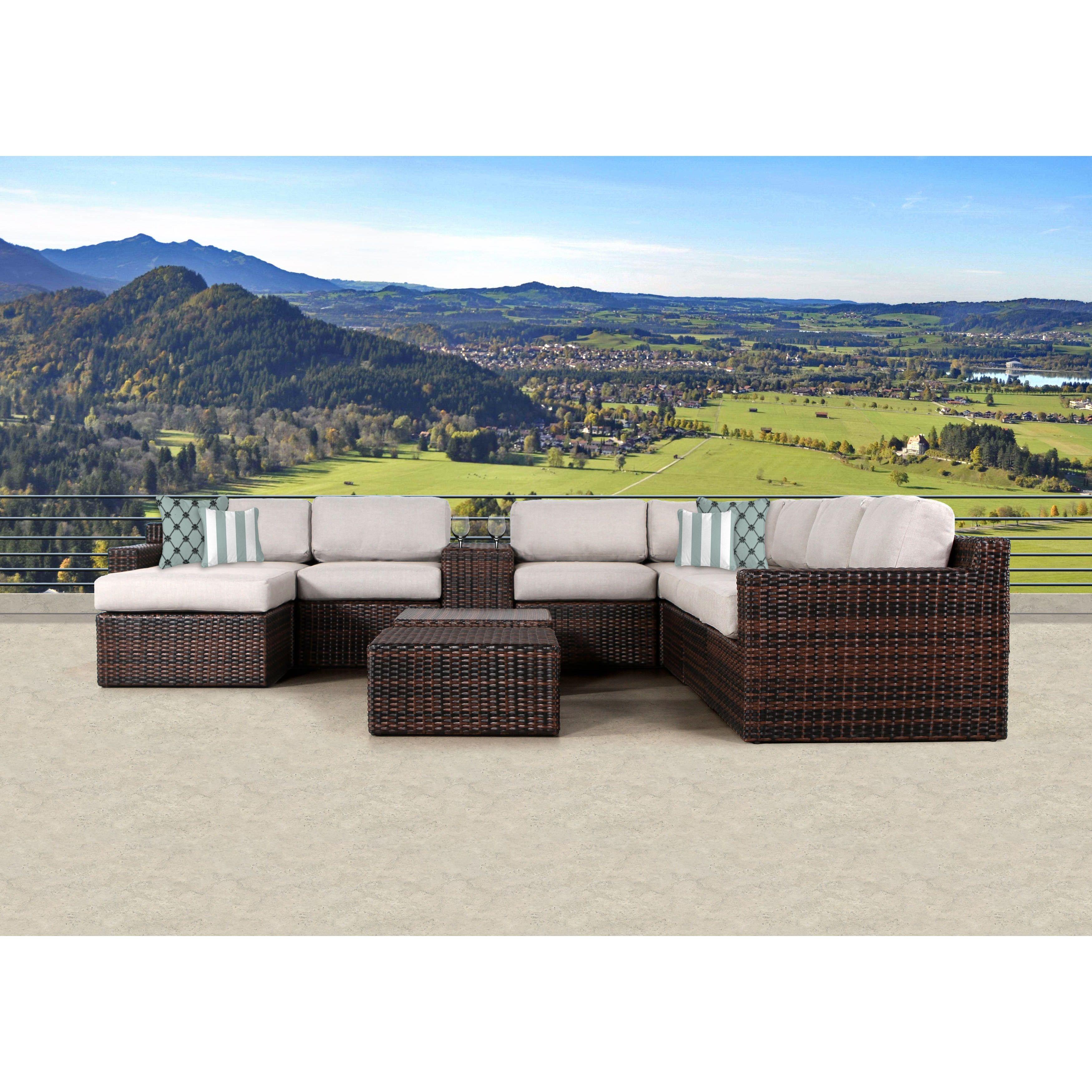 Sunhaven mora brown wicker piece outdoor sofa conversation set