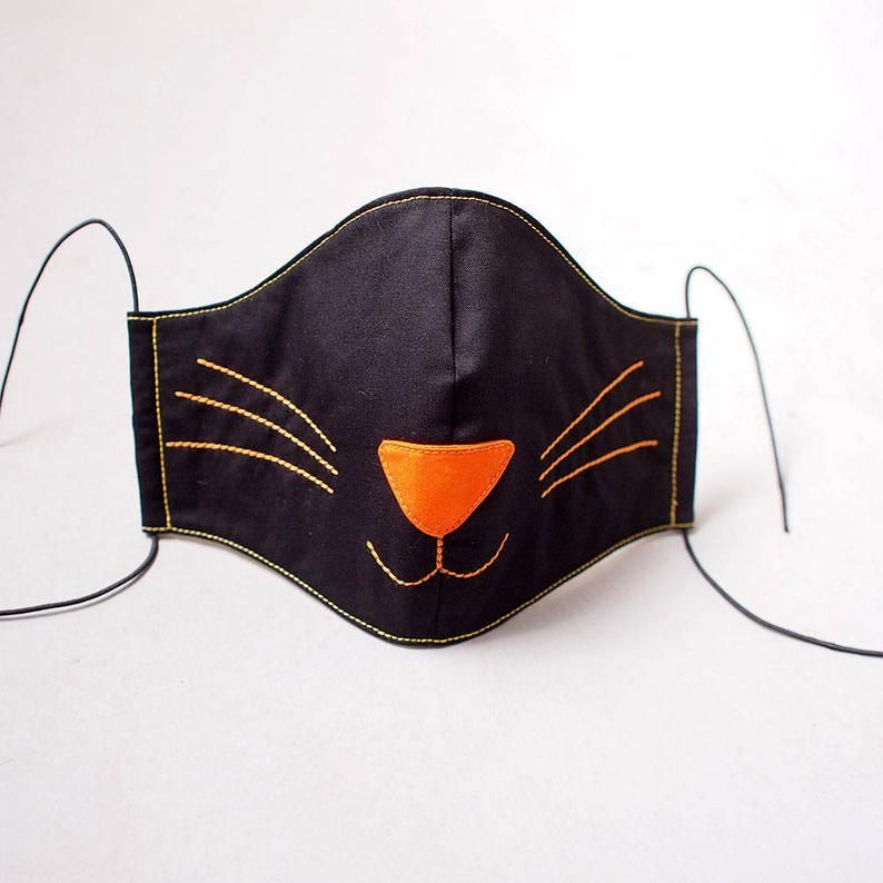 Black Cat Mask Mouth Mask Face Mask Nose Mask Kitty Kitten In 2020 Cat Face Mask Cat Mask Diy Mask