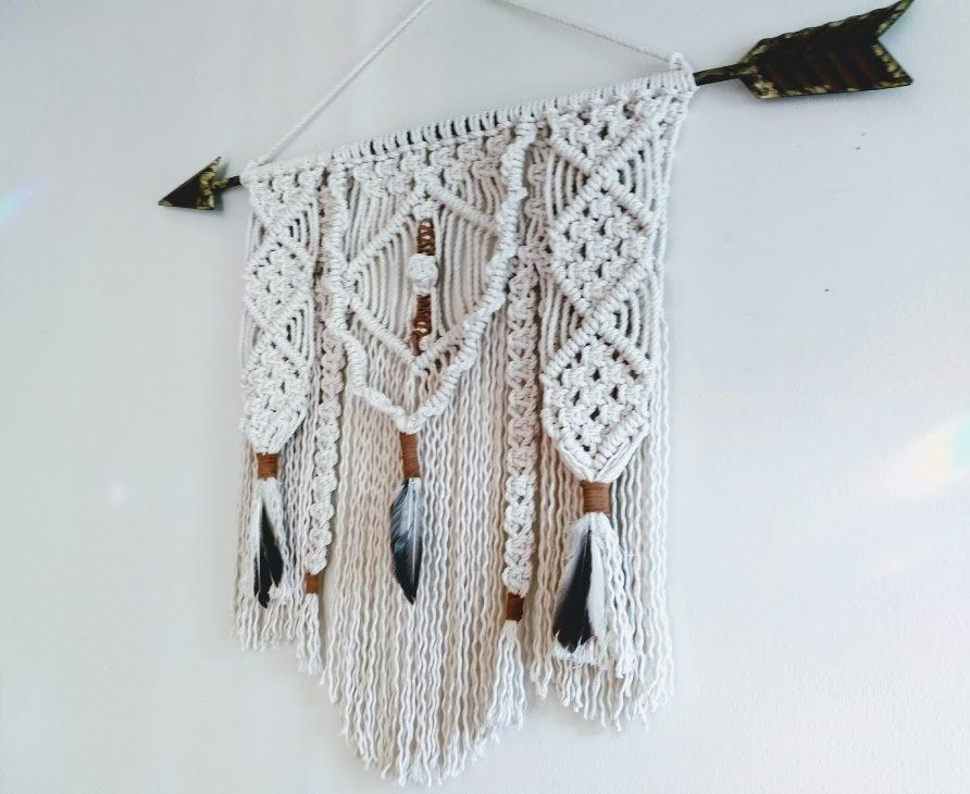 Macrame Wall Hanging W Rustic Metal Arrow Suede Feathers Etsy Tribal Decor Macrame Wall Hanging Wall Hanging