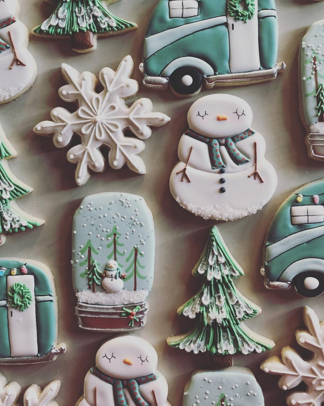 Photo of Christmas cookies; snowmen cookies; decorated cookies; winter wonderland party; …