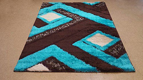 Royal Collection Turquoise Blue Brown Contemporary Geometric Abstract  Design Shaggy Area Rug (6016) (