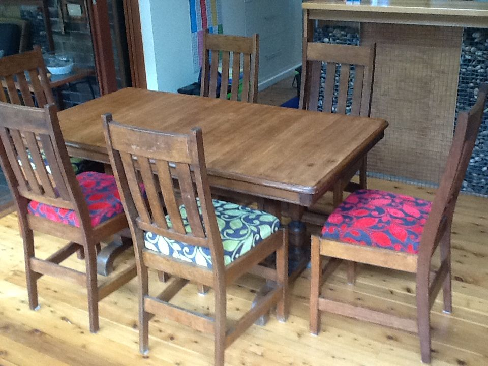 Dining Table And Chairs Refurbished Bound For EBay .new Fabrics And Table  Top Striped Back