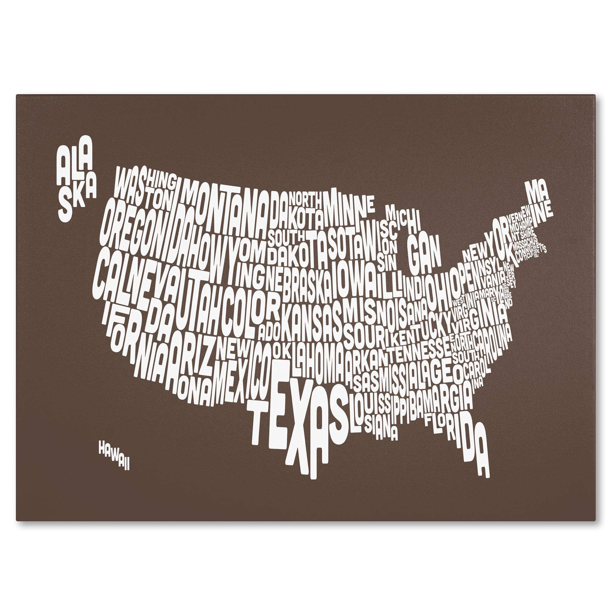 Michael Tompsett Coffee Usa States Text Map Canvas Art 16 X 24 In 2020 Purple Canvas Art Map Canvas Art Trademark Fine Art