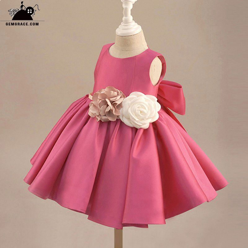 a222df376 Fuchsia Satin Classic Flower Girl Dress Elegant With Flowers And Bow ...