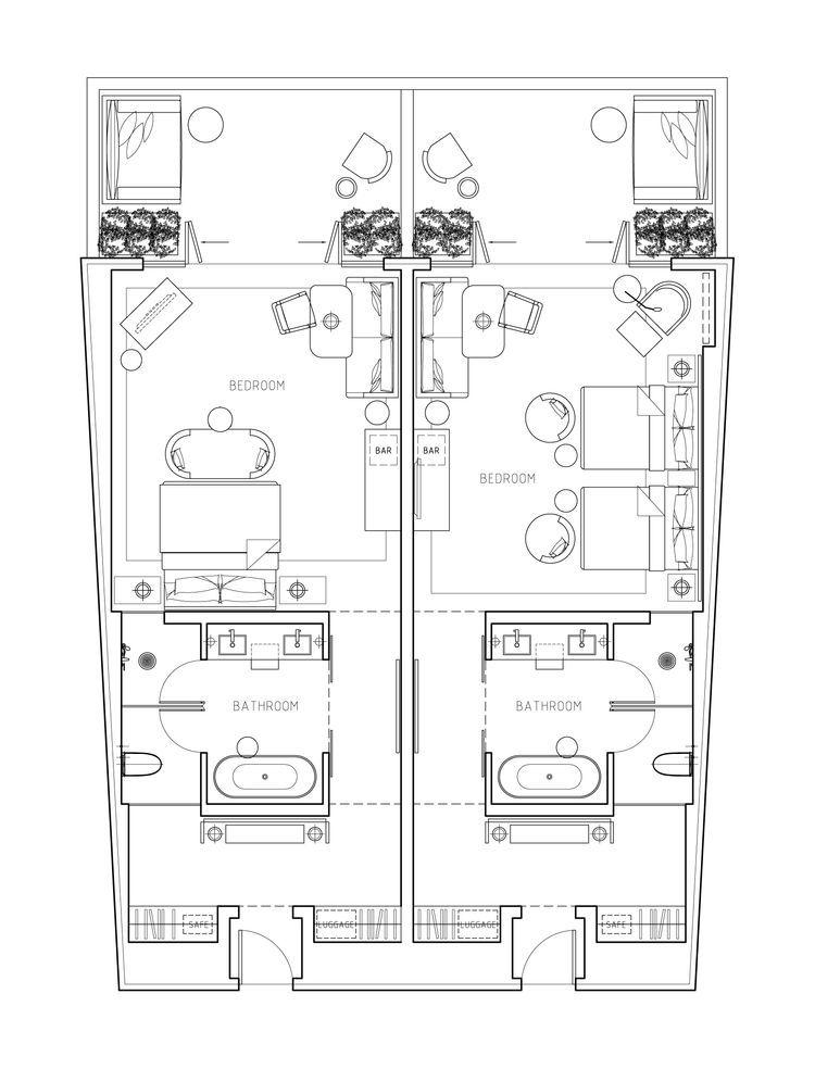 Hotel suite floor plan home decor pinterest for Hoteles en planta