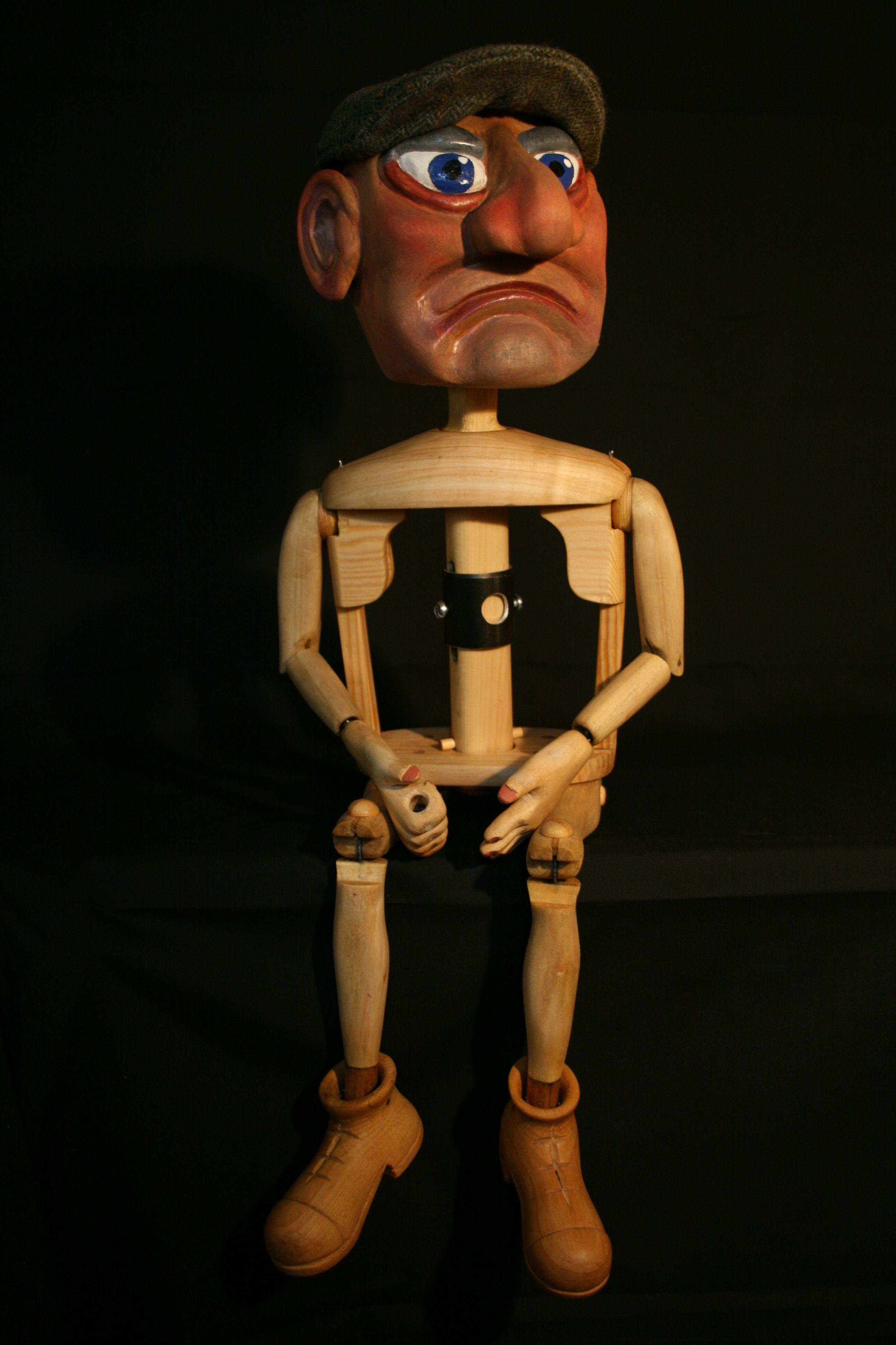 Burattino di legno della marionetta circa 19 pollici di testa alta e-2535