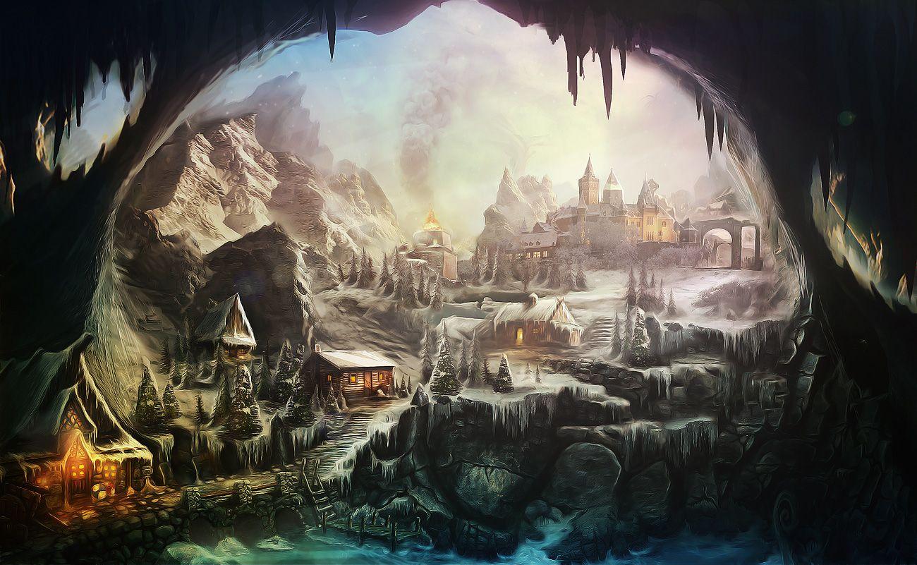 Village Environmental Art Fantasy Fantasy Village